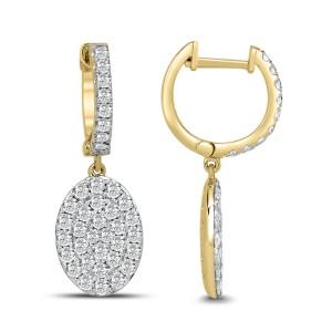 18KT 1.64 CT Oval Cluster Diamond Drop Earring