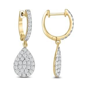 18KT 1.44 CT Pear Cluster Diamond Drop Earring