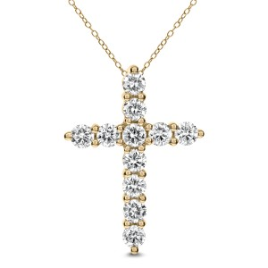 18KT 1.93 CT Diamond Cross Pendant With Chain
