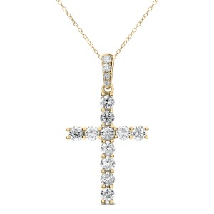 18KT 1.50 CT Diamond Cross Shape With Chain