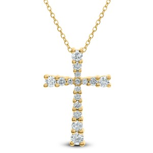 18KT 0.48 CT Diamond Cross Pendant With Chain