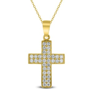 18KT 0.85 CT Diamond Cross Pendant With Chain
