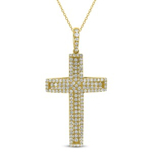 18KT Diamond 1.65 CT Cross Pendant With Chain