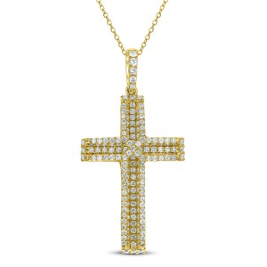 18KT 1.00 CT Diamond Cross Pendant With Chain