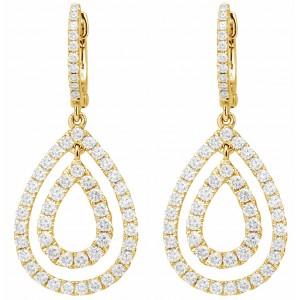 18KT 1.52 CT Diamond Tear Drop Shape Earrings