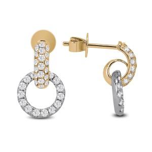 18KT 0.72 CT Two-Tone Gold Diamond Drop Earrings