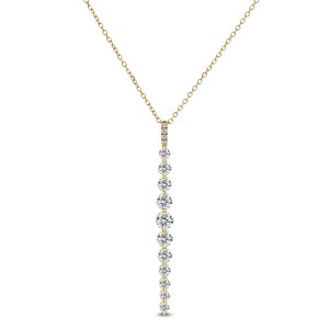 18KT 0.95 CT Diamond Linear Pendant With Chain