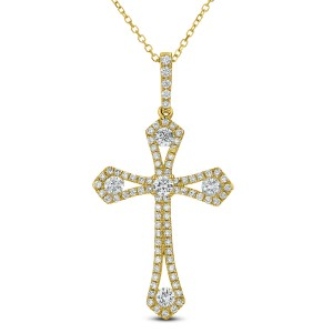 18KT 0.64 CT Diamond Cross Pendant With Chain