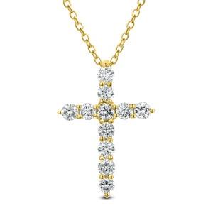 18KT 0.31 CT Diamond Cross Pendant With Chain