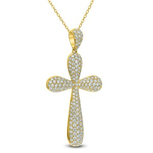 18KT 2.21 CT Diamond Cross Pendant With Chain
