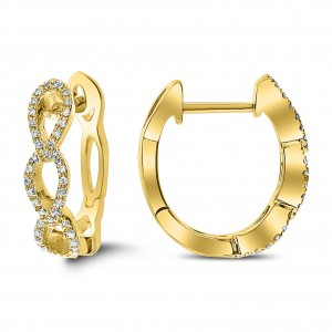 18KT 0.10 CT Diamond Hoop Earrings