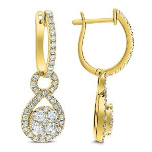 18KT 1.45 CT Diamond Eight Shape Earrings