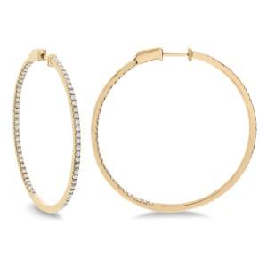 14KT 1.45 CT Diamond Round Hoop Earrings