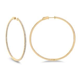 14KT 1.91 CT Diamond Hoop Earrings