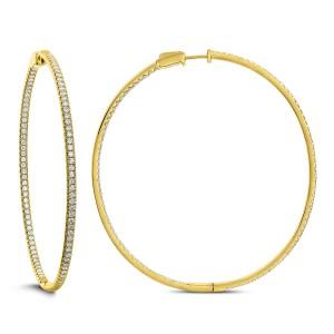 18KT 2.90 CT Diamond Hoop Earrings