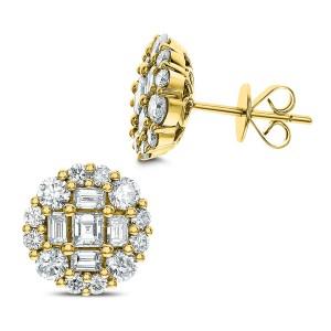 18KT 2.20 CT Diamond Flower Shape Earrings
