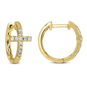 18KT 0.35 CT Diamond Cross Hoop Earrings