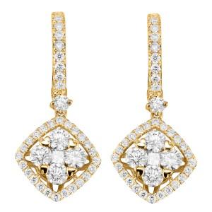 18KT 2.07 CT Diamond Shape Dangle Earrings