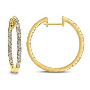 14KT 0.50 CT Diamond Inside Outside Hoop Earrings