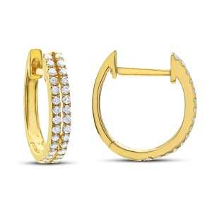 14KT 0.25 CT Diamond Double Row Hoop Earrings