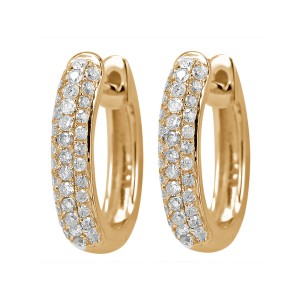 18KT 0.45 CT Diamond Three Row Hoop Earrings