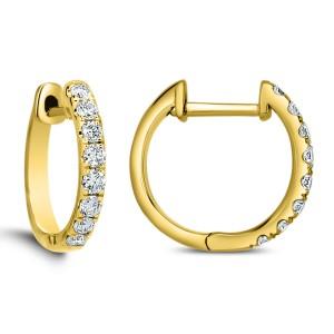 18KT 0.42 CT Diamond Hoop Earrings