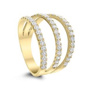 18KT 0.90 CT Diamond 3 Line Ring