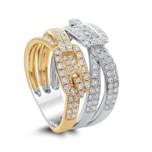 18KT 1.00 CT Diamond Belt Shape Ring