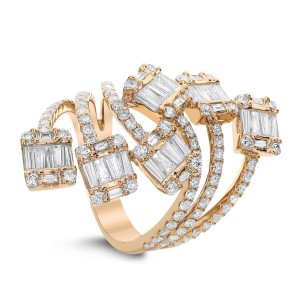 18KT 1.45 CT Diamond Cluster Wrap Around Ring