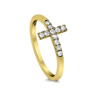 18KT 0.17 CT Diamond Cross Ring