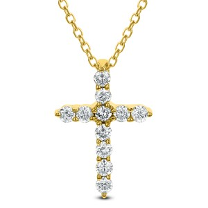 18KT 0.20 CT Diamond Cross Pendant With Chain