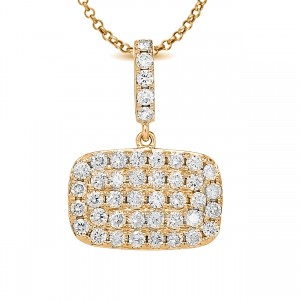 18KT 0.87 CT Diamond Rectangle Shape Pendant With Chain