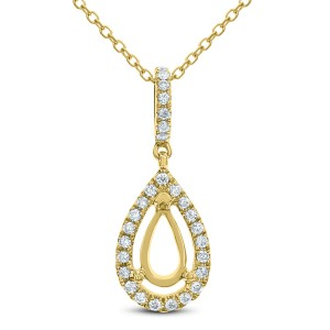 18KT 0.17 CT Diamond Pear Shape Pendant