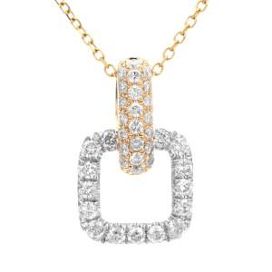 18KT 0.41 CT Diamond Open Square Pendant With Chain