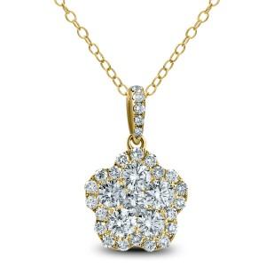 18KT 1.23 CT Diamond Floral Cluster Pendant