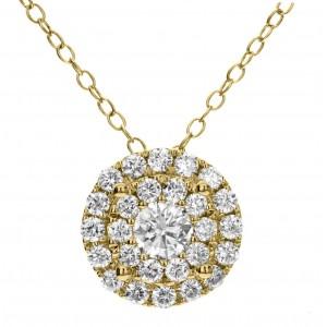 18KT 0.91 CT Diamond Small Circle Shape Pendant
