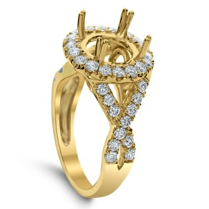 18KT 1.02 CT Halo Diamond Semi Mount Twisted Ring