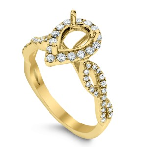 18KT 0.39 CT Diamond Semi Mount Twisted Pear Ring Set