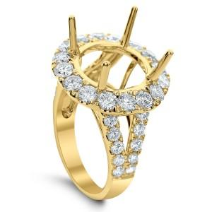 18KT 2.67 CT Halo Diamond Semi Mount Round Ring