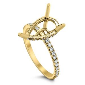 18KT 0.27 CT Diamond Semi mount Pear cut Ring