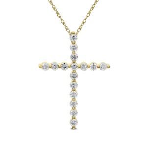 18KT 1.65 CT Diamond Cross With Chain