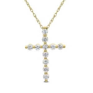 18KT 0.99 CT Diamond Cross Pendant With Chain