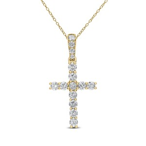 18KT 0.75 CT Diamond Cross With Chain