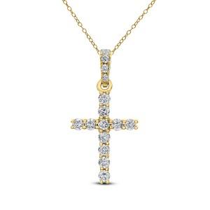 18KT 0.12 CT Diamond Cross Pendant With Chain