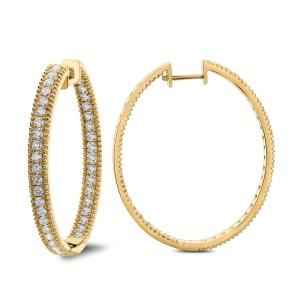18KT 2.25 CT Inside Out Diamond Hoop Earring