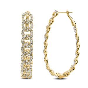 18KT 5.00 CT Interlocked Diamond Hoop Earring