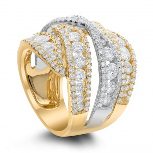 18KT 3.80 CT Two Tone Overlapping Diamond Ring