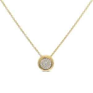 18KT 0.25 CT Round Cluster Diamond Pendant With Chain