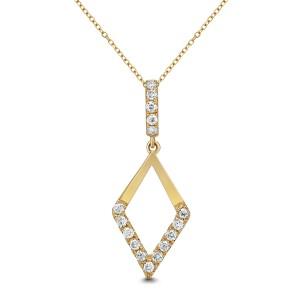 18KT 0.32 CT Diamond Shape Diamond Pendant With Chain