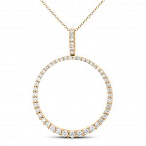 18KT 1.13 CT Diamond Round Shape Pendant With Chain